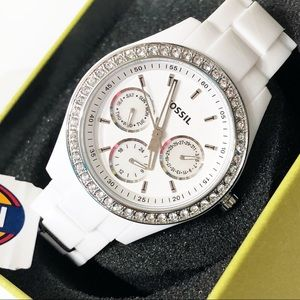 Fossil • White Stella Resin Chronograph Watch